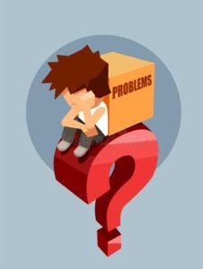 homme-triste-s-asseyant-sur-une-grande-question-rouge-avec-la-boîte-de-problèmes-119340136